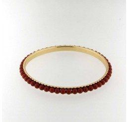 Bracciale rigido in bronzo con perle Red Coral